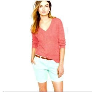 J Crew Pink V Neck Pullover Sweater